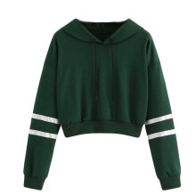 BESSKY Women Varsity-Striped Drawstring Crop Hoodie Sweatshirt Jumper Crop Pullover Top_