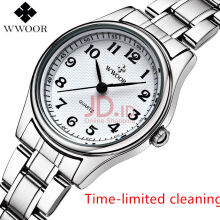 WWOOR 8805 Women's Watch Ultra Thin Stainless Steel Quartz Watch Lady Casual Hours Watches Lover's Female Clock