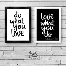 KATAKU Set 2 Poster & Bingkai Motivasi - Do What You Love 1 - Hiasan Dinding