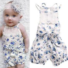 Farfi Baby Girl Floral Print Lace Bow Bandage Sleeveless Jumpsuit Romper Bodysuit