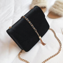 [LESHP]Fashion Metal Tassels Flap Bag Elegant Pleuche Crossbody Bags Shoulder Black