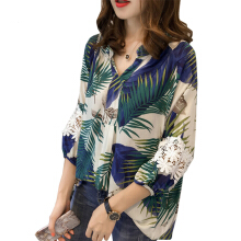 Jantens Autumn kimono ladies lace stitching shirt shirt women printed shirt V-neck shirt