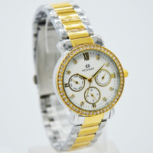 Hegner Stainless Steel Ladies 5023-1LS-360D31SLGLP Chronograph Silver Gold Putih Grey