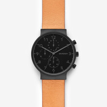 Skagen Ancher - Black round Dial 40mm - Leather - Light Brown - Chronograph - Jam Tangan Pria - SKW6359 - SL