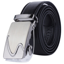 Dandali imported wild tide PU leather automatic buckle men's belt Black