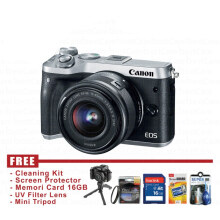 Canon Eos M6 Kit Lens 15-45mm Is Stm Silver (FREE Accessories)