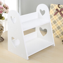 Jantens 2-Tier Heart-shaped Wood Storage rack Bedroom Kitchen Bathroom Tabletop  Cosmetic Shelf White