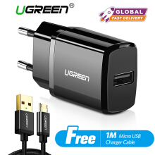 UGREEN Charger USB Charger for Xiaomi Redmi Samsung Handphone + Free 1 Meter Micro USB Fast Charging Cable Black