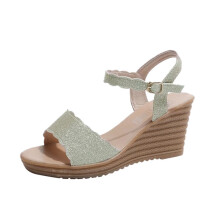 BESSKY Women Round Toe Non-slip Platform High Heels Sandals Buckle Sequins Sandals_
