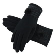 SiYing fashion Women's warm and cashmere lace touch screen gloves