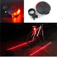 Farfi Bike 2 Laser+5 LED Flashing Lamp Rear Cycling Bicycle Tail Safety Warning Light as the pictures
