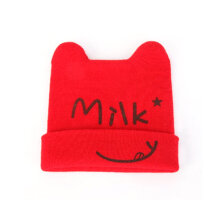 [COZIME] Baby Children's Caps Double-Angle Hats Lovely Ox Horn Cap Knitting Baby Hat Red1
