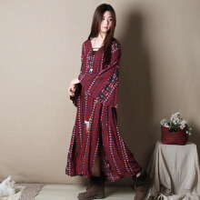 Women V-neck retro printing design loose horn sleeve open fork beach holiday long dress