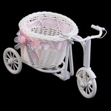 [kingstore] BowKnot Rattan Tricycle Bike  Basket Party Wedding Decor Gift Home Decor Pink