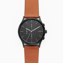 Skagen Jorn - Black Round Dial 40mm - Leather - Brown - Chronograph - Jam Tangan Pria - SKW6477