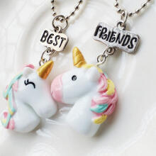Farfi 2Pcs/Set Unicorn Pendant Best Friends Letter BF Gifts Chain Necklace Jewelry as the pictures