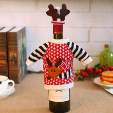 Famirosa Generic Christmas Deer Elk Style Red Wine Champagne Bottle Covers Bag For - Rosso Red