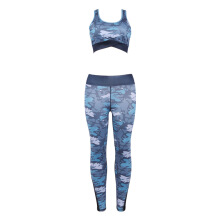 Fashionmall Trendy Round Collar Camouflage Print Spliced Mesh Mid Waist Women Yoga Sports Suit