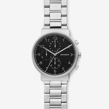 Skagen Ancher - Black round Dial 40mm - Stainless Steel - Silver - Chronograph - Jam Tangan Pria - SKW6360 - SL