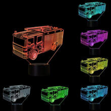 Farfi 3D Fire Engine Bedroom Color Change LED Night Light Desk Lamp Decors as the pictures