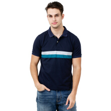 FACTORY OUTLET AIC Mens Polo Stripe SS - Navy