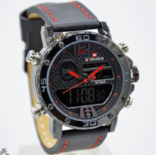 Naviforce Jam Tangan Pria -D44H185NF9134MBBKRD -Dual Time -Leather Srap-Black Red Black