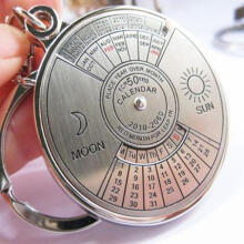 Farfi 50 Years Perpetual Calendar Keyring Keychain Silver Alloy Key Chain Ring Keyfob as the pictures