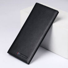AIM Q214 Men's leather Cowhide two fold section leather card holder wallet multi-function Long wallet-Black