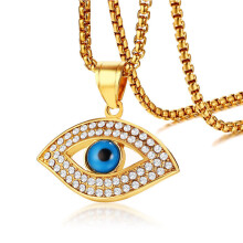 Jantens Trendy Gold Color AAA CZ Stone Stainless Steel Blue Eye Pendant Necklaces for Gold