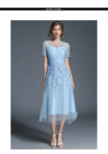 Allgood Fashion Summer New Women dress Short-sleeved Embroidery Mesh Long Dress Grenadine Charming Party Dresses