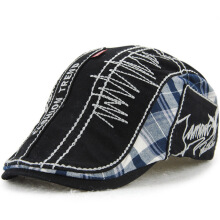 JAMONT Men's 2018 new fashion imported letter embroidery cap splicing lattice cotton hat