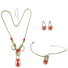ETONG Earrings and Necklace and Bracelet Jewelry Set with the Simulated Coral