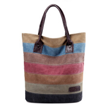 SiYing Simple casual shoulder bag canvas handbag stripe