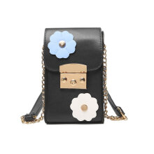 [LESHP]Mobile Phone Buckle Bags Women Casual Solid Flowers Messenger Bag for Gift Black