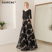 SHUMING-Banquet evening dress hosted V-neck mid-sleeve black sexy temperament dress Black S