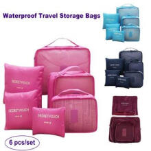 [ABB style] 6pcs/set Waterproof Travel Storage Bags Clothes Cube Packing Container