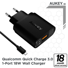 Aukey Charger 1 Port 18W QC 3.0 - 500291 Black