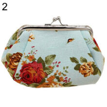 Farfi Women Flower Printed Canvas Wallet Card Holder Coin Purse Clutch Handbag Bag