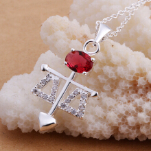 Anamode Balance Necklace Mosaic Red Crystal Women Fashion Arrow Heart Jewelry- Silver