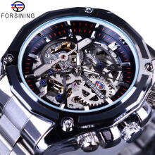 Forsining Steampunk Gear Design Transparent Case Automatic Hollow Watch F1030
