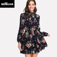 Newlan Autumn Floral Dresses Multicolor Elegant Long Sleeve High Waist A Line Chic Dresses Women Dresses