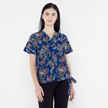 FBW Kimono Batik Blouse Couple Imlek Daon - Biru Blue All Size