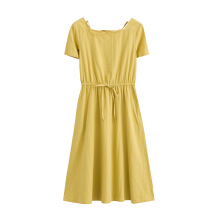INMAN 1882102046 Dress 2018 Summer Wear New Round Neckline High Waist Belt Slim Thin Short Sleeve Dress