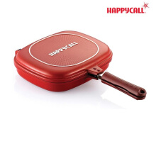 Rainha Happy Call Double Pan Terbesar Diameter 32 CM Jumbo Size Termurah - Merah Kulit Jeruk
