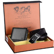 SEPTWOLVES L704 gift pack Cowhide two fold horizontal wallet&Cowhide belt automatic buckle belt-Black