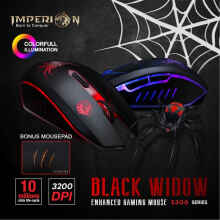 Mouse Gaming Imperion S300 Black Widow + Free (Bonus) Mousepad