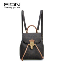 FION PU & Cow Leather Backpack - Brown Brown
