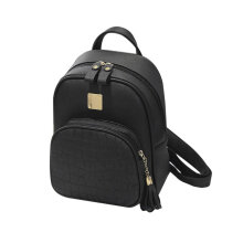 [LESHP]Soft PU Leather Shoulder Bag Outdoor Travel Backpack Students School Bags Black