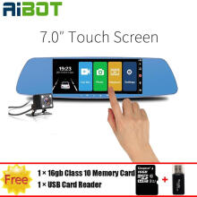 Aibot 7 Inch Touch Screen Car DVR Dual Lens Camera Rearview Mirror Video Recorder Dash Cam Auto Camera Portable Recorder with TF