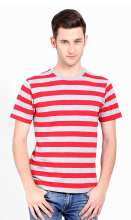 D&F T-Shirt Big Stripe Grey Mix Red